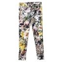 Vintage Colorful Floral Print Elastic Pockets Back Pencil Pants
