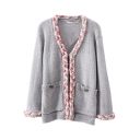 Gray Crochet Trim V-Neck Pockets Cardigan in Loose Fit