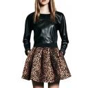 Leopard Print High Elastic Waist Pleated Skater Skirt