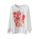 Round Neck Fresh Strawberry Print Long Sleeve Sweatshirt