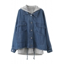 Blue Two Piece In One Hooded Drawstring Single-Breast Denim Coat with Vest