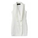 Plain Vest Style Bodycon Double-Breasted Lapel Dress