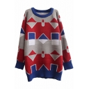 Geometric Jacquard Raglan Sleeve Round Neck Tunic Sweater