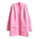 Plain Raglan Sleeve Pockets Long Sleeve Open Knit Cardigan