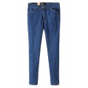 Indigo Wash Pencil Denim Pants with Back Pockets