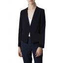 Plain V-Neck Open Front Fitted Blazer with Asymmetrical Hem