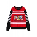 Color Block Letter&Stripe&Flower Print Round Neck Long Sleeve Sweatshirt