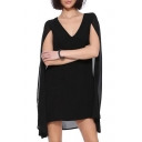 Black Fitted Plain Cape Style V-Neck Chiffon Dress
