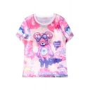 Shining Space Cute Little Bear&Horse Print T-shirt