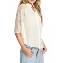 Plain Point Collar Loose Shirt with Lace Inserted Sleeve