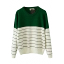 Stripe Color Block Round Neck Long Sleeve Sweater