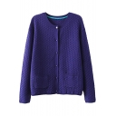 Plain Diamond Knitting Long Sleeve Button Fly Cardigan with Round Neckline and Double Pockets Front