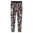 Vintage Floral Print High Elastic Waist Pencil Pants