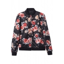 Stand Collar Vintage Floral Print Zipper Fly Jacket