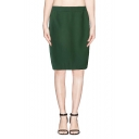 Plain High Waist Zippered on One Side Split Back Pencil Skirt