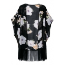 Big Floral Print Open Front Loose Kimono with Tassel Hem