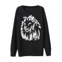 Black Lion Head Pattern Round Neck Long Sleeve Sweater