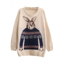 Preppy Look Rabbit Jacquard Round Neck Long Sleeve Loose Sweater