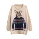 Preppy Look Rabbit Jacquard Round Neck Long Sleeve Loose Sweater