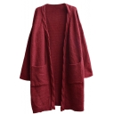Cable Knitted Trim Plain Long Sleeve Open-front Longline Cardigan with Pockets