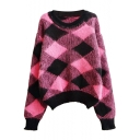 Dipped Hem Round Neck Batwing Sleeve Argyle Pattern Soft Mohair Sweater