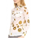 Yellow Hat Print Long Sleeve Button Front Pockets Chiffon Blouse