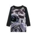 Ink Painting Pattern Long Sleeve Knitted Sweater with Round Neckline