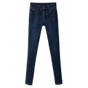 Plain Scratch Dark Wash Mid Rise Fitted Pencil Jeans