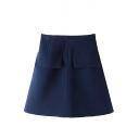 Plain Pockets Detail High Rise Zipper Fly A-Line Skirt
