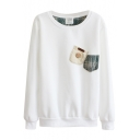 Round Neck Applique Pockets Long Sleeve Sweatshirt