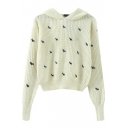 Plain Dog Embroidered Hooded Long Sleeve Cropped Sweater