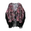 Cashew Print Collarless Loose Tied Kimono with Tassel Hem