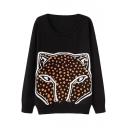 Black Fox Head Print Round Neck Long Sleeve Sweater