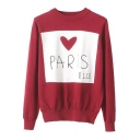 Red Heart Letter Embroidered Classic Round Neck Long Sleeve Sweater