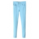 Plain Ankle-Cuff Zipper Fly Skinny Pants with Double Button Front