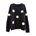 Cat Hair 3D Flower Applique Round Neck Long Sleeve Sweater
