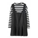 Two-Piece Style Stripe Pattern Round Neck Sweatshirt with Plain Tank Dress