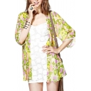 Floral Print Belted Open Front 1/2 Sleeve Kimono