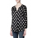 Polka Dot Print Long Sleeve Zip Fly Shirt with Side Split