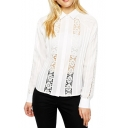 Lace Inserted Vertical Cutout Long Sleeve Shirt