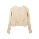 Plain Cutout Knitted Raglan Sleeve Cropped Sweater