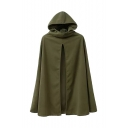 Plain Amy Green Hooded Split Front Woolen Cape