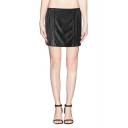 Plain Leather Mini Wrap Skirt with Back Zipper