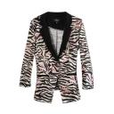 Pink Background Zebra Pattern Print Slim Blazer with Notched Lapel