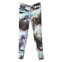 Oil Painting Style Landscape Print Zipper Fly Ankle Length Pencil Pants