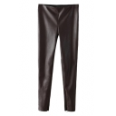 Elastic Waist Metallic Black PU Skinny Pants with Side Zipper