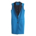 Black Notched Lapel Sleeveless Tunic Vest with Print Lining