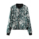 White Floral Print Stand Collar Zip Fly Coat with Long Sleeve