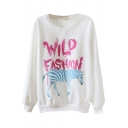 Round Neck Letter and Blue Zebra Print Long Sleeve Sweatshirt