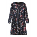 Black Background Swallow&Floral Print Long Sleeve Dress with Drawstring Waist